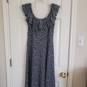 Ruffle neck A-line dress